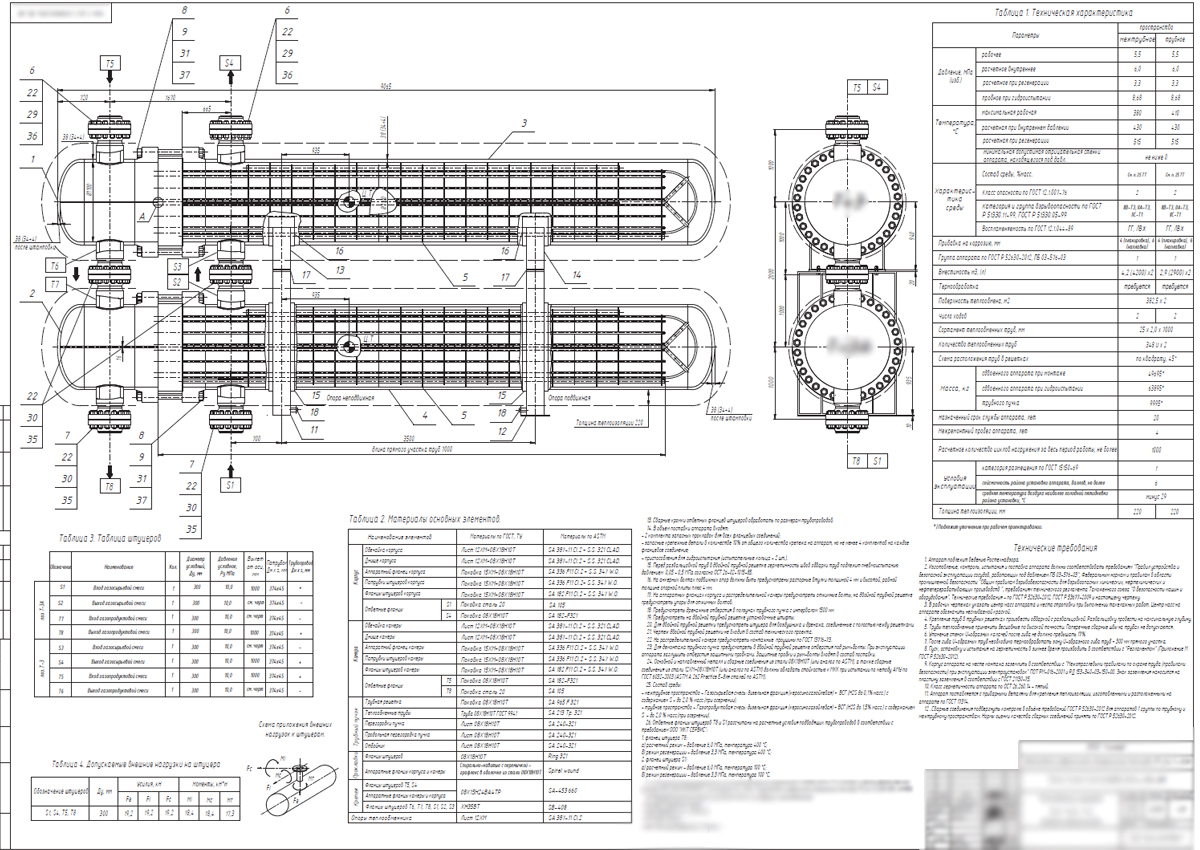 First sheet (general drawing) of the technical project (for Russia) of a double tube-sheet heat exchanger with a longitudinal baffle and U-tubes, type according to TEMA BFU